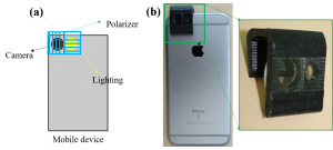 (a). two polarizers with opposite polarization are attached to the camera and the flash light of the mobile device, respectively; (b). photo of our prototype Mobile SfS with an iPhone 6 and a custom 3D printed widget.